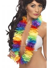 Bright Coloured Hawaiian Rainbow Flower Lei